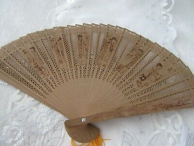 New , Boxed Ornamental,  Wooden Decorative Chinese  Fan Great Decor Piece