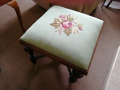 Victorian Embroidered footstool dating 1880