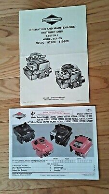 Briggs  & Stratton Operating/Maintenance Booklets