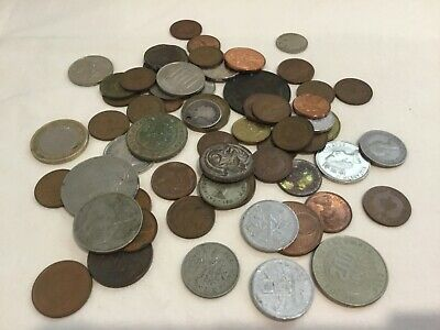 Mixed Foreign and Australian Coins x60 NZ, Old Aus, Spain, Euro, Singapore etc.