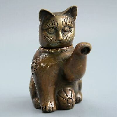Collectable China Old Bronze Hand-Carve Lovely Cat Delicate Unique Noble Tea Pot