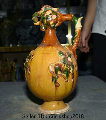 "11.6"" Old Chinese Tang Sancai Pottery Dynasty Man Horse Rooster Handle Wine Pot"