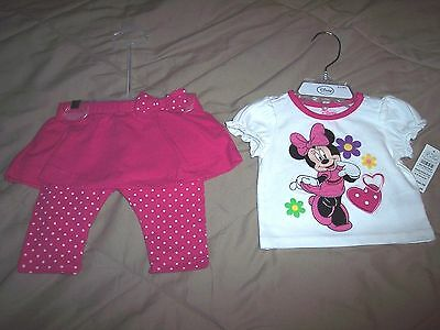 (2 pc) Disney Store Minnie Mouse Baby Girl outfit set 0-3 MO