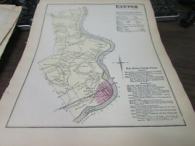 Antique - Original Exeter Township Pa Map - Vg