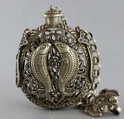 Collect Old Tibet Silver Hand-Carved Double Fish Moral Bring Luck Snuff Bottle