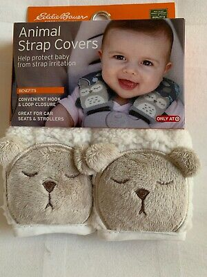 NEW Eddie Bauer Animal Strap Covers Car Seat Stroller Protector Bear NIP
