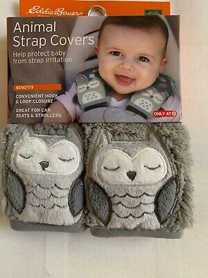 NEW Eddie Bauer Animal Strap Covers Car Seat Stroller Protector Owl NIP