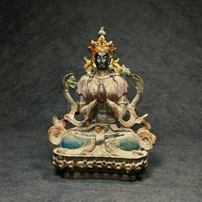 Collectable China Old Bronze & Gilding Hand-Carved Auspicious Buddhism Statue
