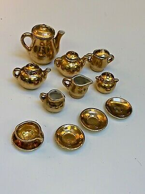 17 pc GOLD LEAF Vintage 1940's MINIATURE porcelain tea set~Pots~Cup~Saucers