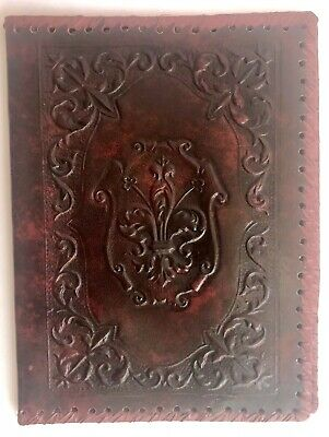 Vintage Fleur de lis Embossed Red Leather Book Bible Dust Cover