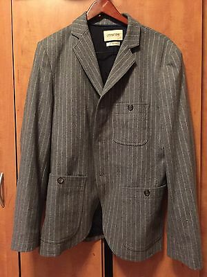 OPERATIONS NYC Men's Jacket Blazer Striped Gray White sz 40 Made In NYC USA