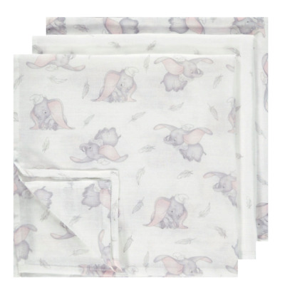 Disney Dumbo Baby Muslin Squares 3 Pack Burp Cloths Bib Gift New