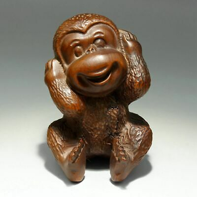 Collect Handwork China Old Boxwood Carve Naughty Monkey Vivid Delicate Statue