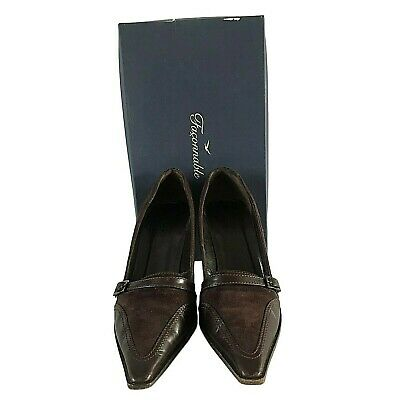 FACONNABLE Strap & Buckle Brown Suede & Leather Pumps - Size 38 / UK 5 / US 8