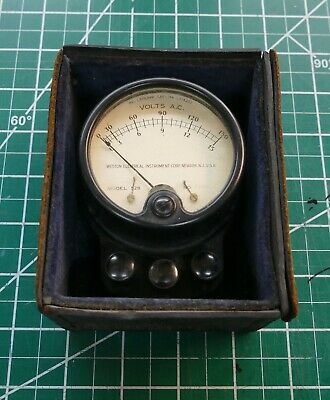 Vintage Weston 528 AC Volt Meter in CASE WW II Era