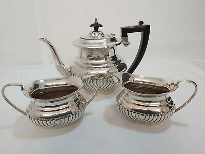 An Antique Silver Plated Tea Set With A Semi Fluted Pattern.by psl.early 1900.s.