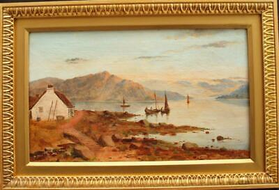 FINE 19th Century HIGHLAND LOCH LANDSCAPE AT SUNSET Antique Oil Painting