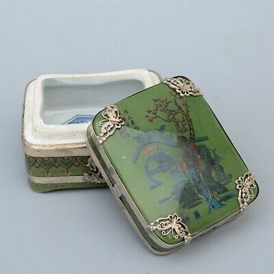 Collect Old Miao Silver Carve Butterfly Armour Porcelain Paint Belle Jewle Box