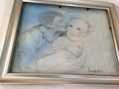 "What was i thinking drawing paint wash signed by artist framed 9.5"" x 11.5"""