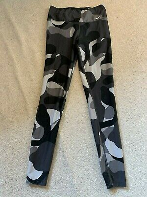 Nike Legend 2 MQA Dri Fit gym fitness pants leggings in black/grey/white - small