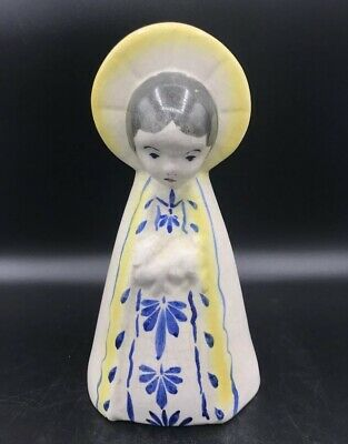 Vtg Hand Painted Ceramic Angel Figurine Mexican Folk Art Pottery Sanchis Mexico