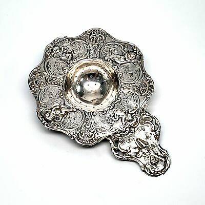 Antique Cherub Sterling Silver Tea Strainer #4468