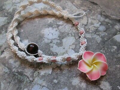 18 INCH Handmade White Hemp Necklace with Pink Clay Tropical Flower Pendant