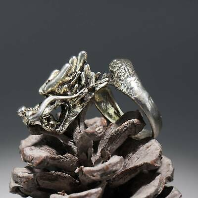 Collectable China Old Miao Silver Hand-Carved Myth Dragon Noble Delicate Ring