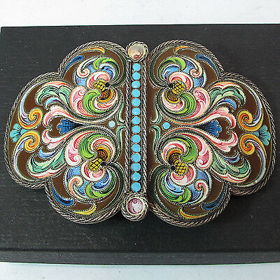 ANTIQUE RUSSIAN 84 SILVER SHADED ENAMEL BELT BUCKLE, Ruckert style
