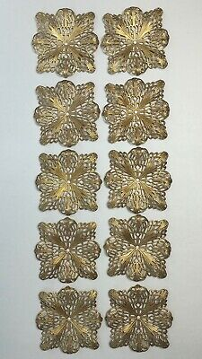 LOT 10 Vtg Brass Stamping Findings Jewelry ART DECO Filigree Lace Embellishments