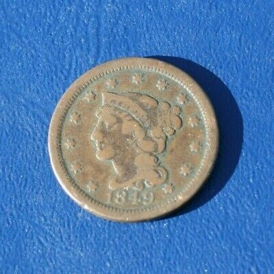1849 Braided Hair Large Cent  *Very Good Details* *Almost 200 Years Old*