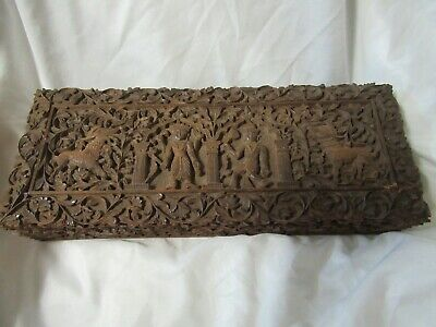 Antique Asian Motif Heavily Carved Wood Document Box with Lock & Key