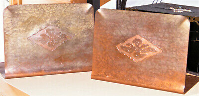 Antique Pair Marked MISSION~ARTS & CRAFTS HAMMERED COPPER BOOKENDS Floral Relief