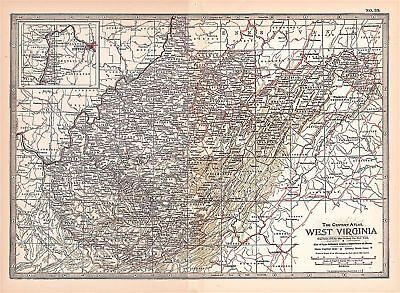 Original 1897 Map of West Virginia by The Century Co,