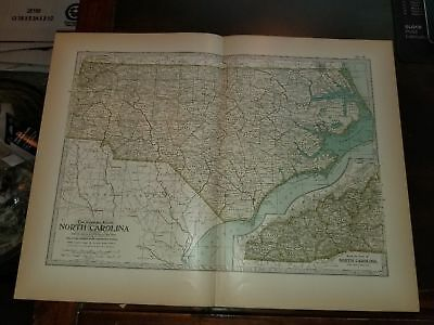 Original 1897 Map of North Carolina by The Century Co,