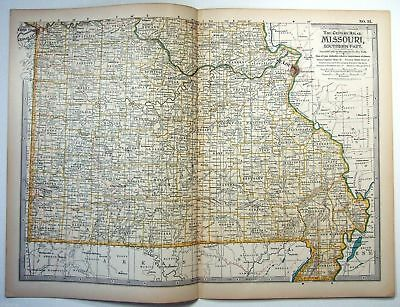 Original 1897 Map of Missouri Southern Part by The Century Co,