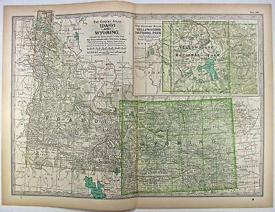 Original 1897 Map of Idaho and Wyoming by The Century Co,