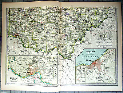 Original 1897 Map of Southern Ohio by The Century Co,