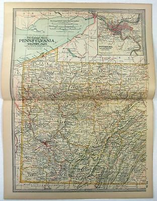 Original 1897 Map of Pennsylvania Western Part by The Century Co,
