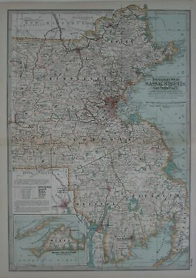 Original 1897 Map of Massachusetts Eastern Part by The Century Co,
