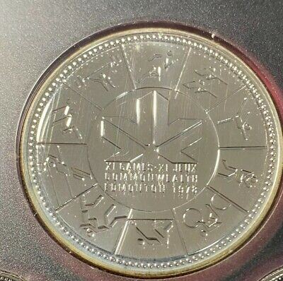 1978 Canadian $1 Silver Dollar 11th Commonwealth Games, Edmonton, - Low montage