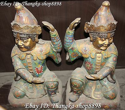 "21"" Antique Chinese Cloisonne Enamel Gilt Ancient Myth Door God Immortal Pair"