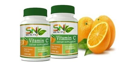 2 Pure Vitamin C 1000 mg support immune System very high quality 200 tablets