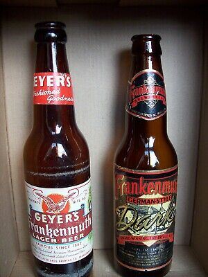 Geyer's Frankenmuth Lager & Frankemuth Dark Michigan Glass Beer Bottles