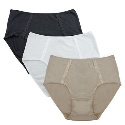 Fem Women's Panties Modal Cotton Full Brief Lace Trim Underwear - 3 Pack # 591