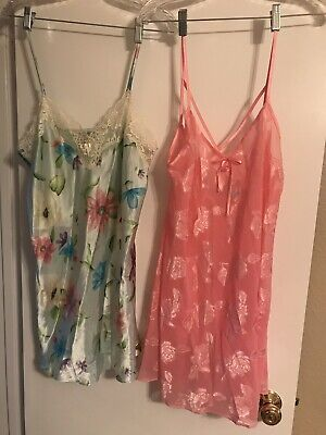 Two Womens Morgan Taylor Intimates Chemise Nightgowns- Size M
