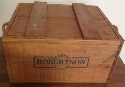 Original Robertson Cheese Vintage Australian Crate Wooden Box - with lid - Decor