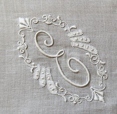 """Vintage Hand Embroidered White Cotton Women's Handkerchief Initial """"E"""""""
