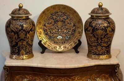 Ceramic Vintage Urns and Display Plate on Stand. Decorative Antique Beautiful.