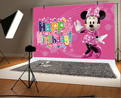 Minnie Mouse Photography Backdrop Girls Birthday Party Kids Photo Background